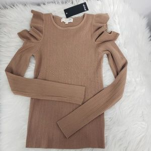 Nasty Gal Mocha Cold Shoulder Ruffle Sweater